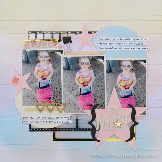Rainbow pastel scrapbook layout.